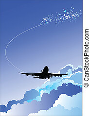 illustrat, avion, vecteur, atterrissage