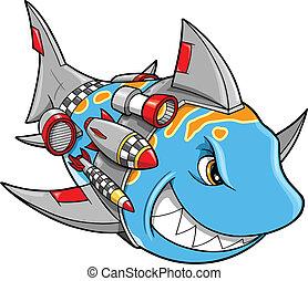 illustrat, cyborg, vector, robot, tiburón