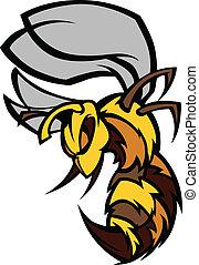 illustrat, gráfico, vector, avispón, abeja