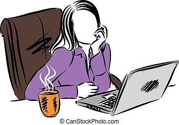 illustrat, mulher, computador, trabalhando