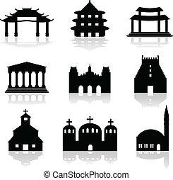 illustrat, olika, tempel, kyrka
