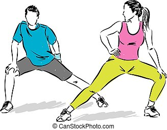 illustrat, paar, stretching, fitness