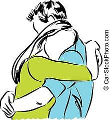 illustrat, pareja, otro, abrazar, cada