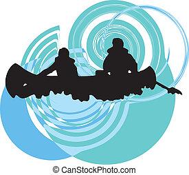 illustrat, river., ベクトル, カヤックを漕ぐ