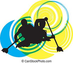 illustrat, river., wektor, kayaking