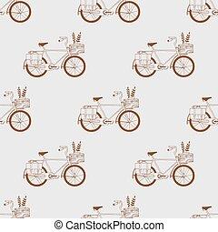 illustrat, vector, fiets, illustratie, paardrijden