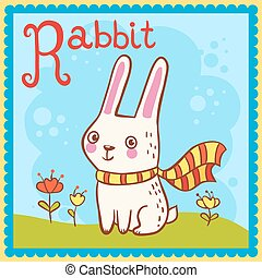 Illustrated alphabet letter R and rabbit.
