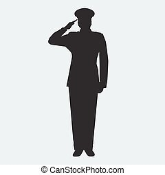 Illustrated Army general silhouette with hand gesture...