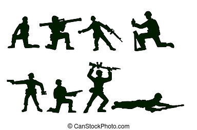 A vector illustration of some army soldier toy figurines set against a white background.