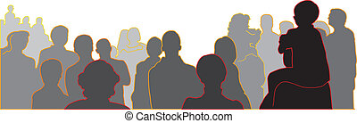 illustrated audience on white background