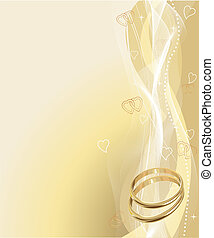 Illustrated Beautiful Wedding rings Background with place for copy	ext