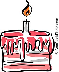 Illustrated birthday cake with cream on white background, vector