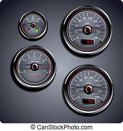illustrated car gauges - Illustrated automobile gauges for...