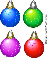Illustrated christmas tree balls