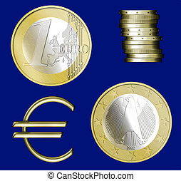 Euro coins - Illustrated Euro coins