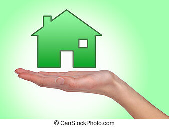 Illustrated house on female hand