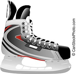 Illustrated ice hockey skate isolated against a white ...