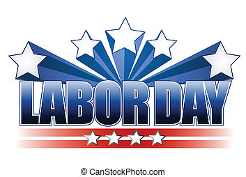 Illustrated labor day text design