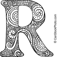 Illustrated letter R