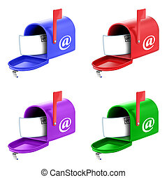 Illustrated Mailboxes in Mixed Colors