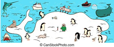 Illustrated Map of Antartica. With funny and typical...