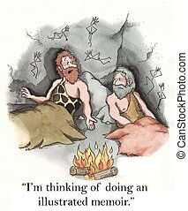 Illustrated memoir - Two cavemen talk about creativity