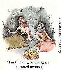 Illustrated memoir - Two cavemen talk about creativity