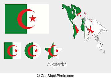 Multiple Shapes Set with the Flag of Algeria