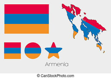Multiple Shapes Set with the Flag of Armenia