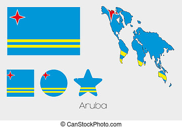 Multiple Shapes Set with the Flag of Aruba