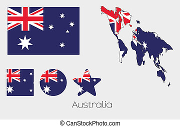 Multiple Shapes Set with the Flag of Australia