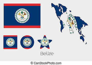 Multiple Shapes Set with the Flag of Belize