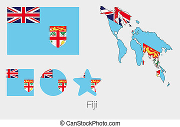 Multiple Shapes Set with the Flag of Fiji