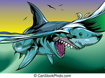 nice shark - illustrated nice shark on the color background