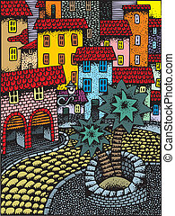 small town - illustrated nice small town as color background