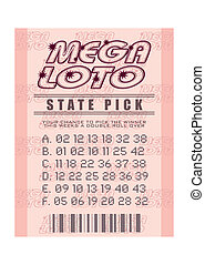 lottery ticket - Illustrated pink mega lottery ticket with ...