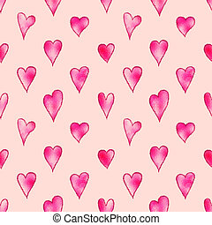 Illustrated seamless pink background with hearts