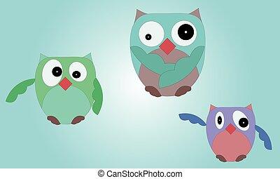 Illustrated set of owls