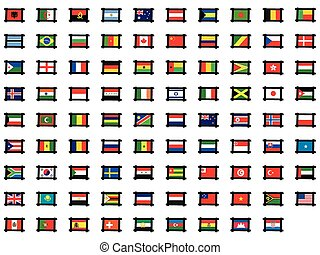 Illustrated Set of World Flags - Frames