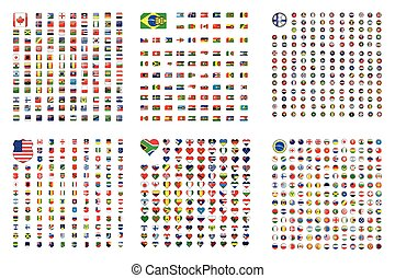 Illustrated Set of World Flags - Square - Shield - Circle - Hear