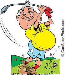 old golfer - illustrated smiling old golfer on the white...