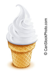 Illustrated Vanilla Ice Cream Cone