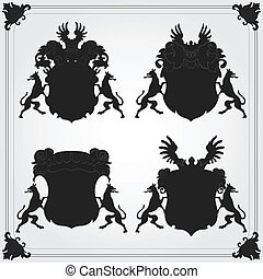 Illustrated vintage coat of arms collection for poster