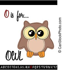 Illustrated vocabulary worksheet card with cartoon OWL
