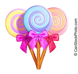 Whimsical Lollipops with Bows - Illustrated Whimsical...