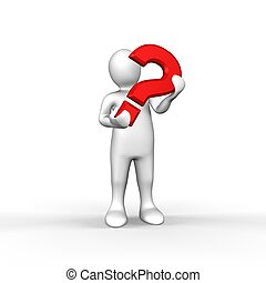 An illustrated white figure holding a red question mark