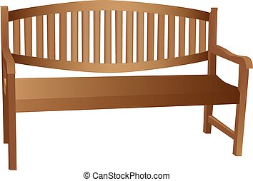 Illustrated wooden bench with slatted back and arm rests isolated against a white background.