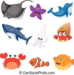 illustrateur, ensemble, animaux, mer