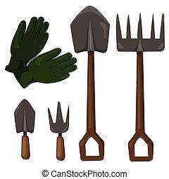 illustrateur, ensemble, outils jardinage