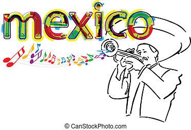 illustrati, メキシコ人, ベクトル, mariachi.